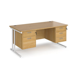 Maestro 25 Straight Desk With Two Fixed 2/3 Drawer Pedestals - Flogit2us.com