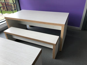 Chunky Wooden Canteen Bench Set Ash - Flogit2us.com