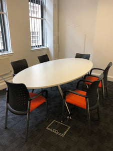 6-8 Person White Oval Meeting Table With Chairs - Flogit2us.com