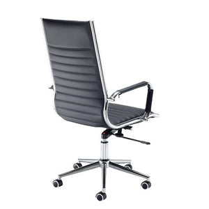Bari High Back Executive Chair - Black Faux Leather - Flogit2us.com