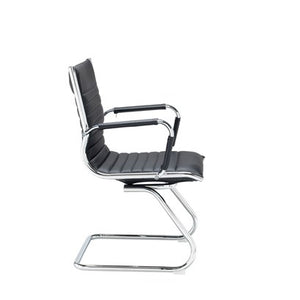 Bari Executive Visitors Chair - Black Faux Leather - Flogit2us.com