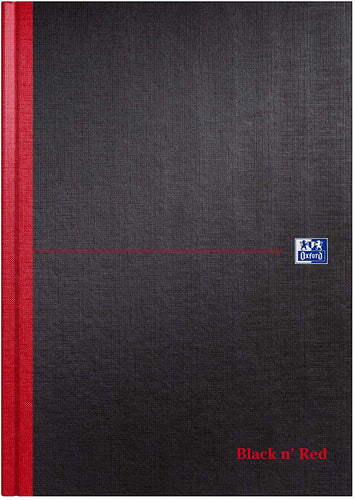 Oxford Black n' Red A4 Hardback Casebound Notebook - Plain/No Ruling - Flogit2us.com