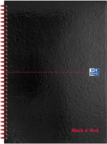 Oxford Black n' Red A4 Glossy Hardback Wirebound Notebook - Flogit2us.com