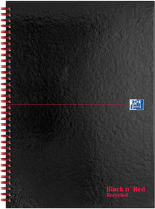 Oxford Black n' Red A4 Glossy Hardback Wirebound Recycled Notebook - Flogit2us.com