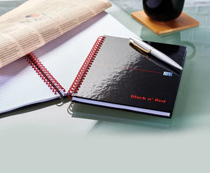 Oxford Black n' Red A5 Glossy Hardback Wirebound Notebook - Ruled with A-Z Index - Flogit2us.com
