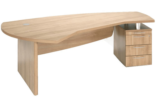 E Space Executive Desk With Built-in Pedestal - Cappuccino - Flogit2us.com