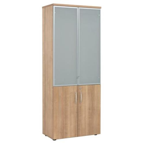 E Space Executive High Storage Glass Door Cabinet - Cappuccino - Flogit2us.com