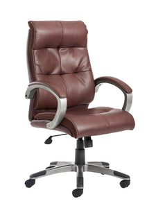 Catania High Back Managers Chair - Brown Leather Faced - Flogit2us.com