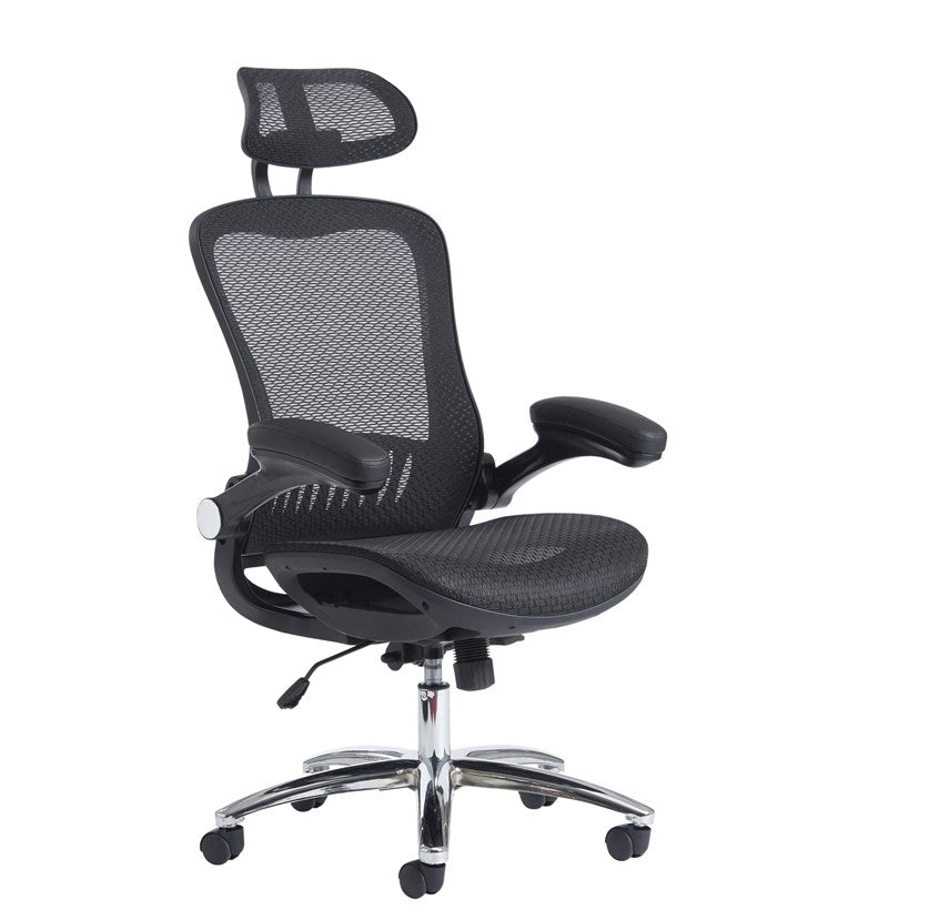 Curva High Back Mesh Chair - Black - Flogit2us.com