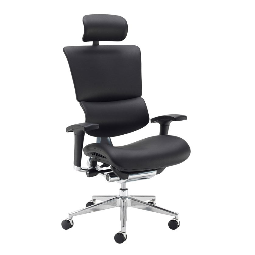 Dynamo Ergo Leather Posture Chair With Chrome Base - Black - Flogit2us.com