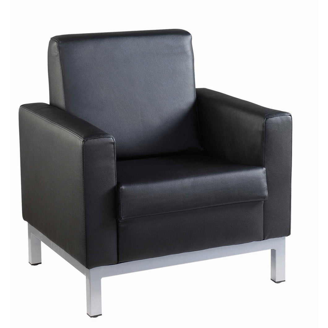 Helsinki Square Back Reception Tub Chair - Black Leather Faced - Flogit2us.com