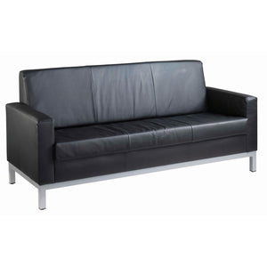 Helsinki Square Back Reception 3 Seater Sofa - Black Leather Faced - Flogit2us.com