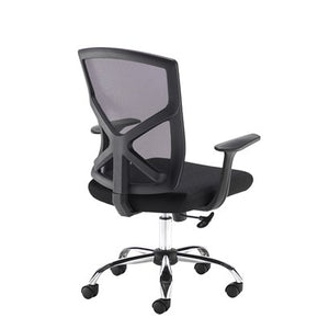 Hale Black Mesh Back Operator Chair With Black Fabric Seat and Chrome Base - Flogit2us.com