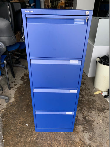 Bisley 4 Drawer Blue Filing Cabinet (New Slight Second) - Flogit2us.com