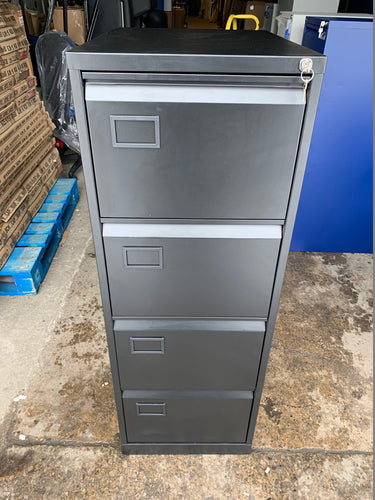 Trexus 4 Drawer Black Filing Cabinet (New Slight Second) - Flogit2us.com
