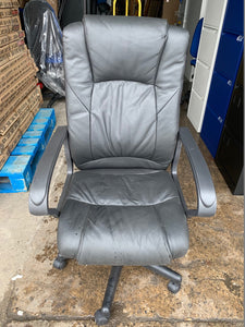 Leather Faced Executive Chair Black (New Slight Second) - Flogit2us.com