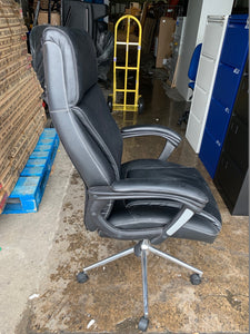 High Back Leather Faced Executive Chair Black (New Slight Second) - Flogit2us.com