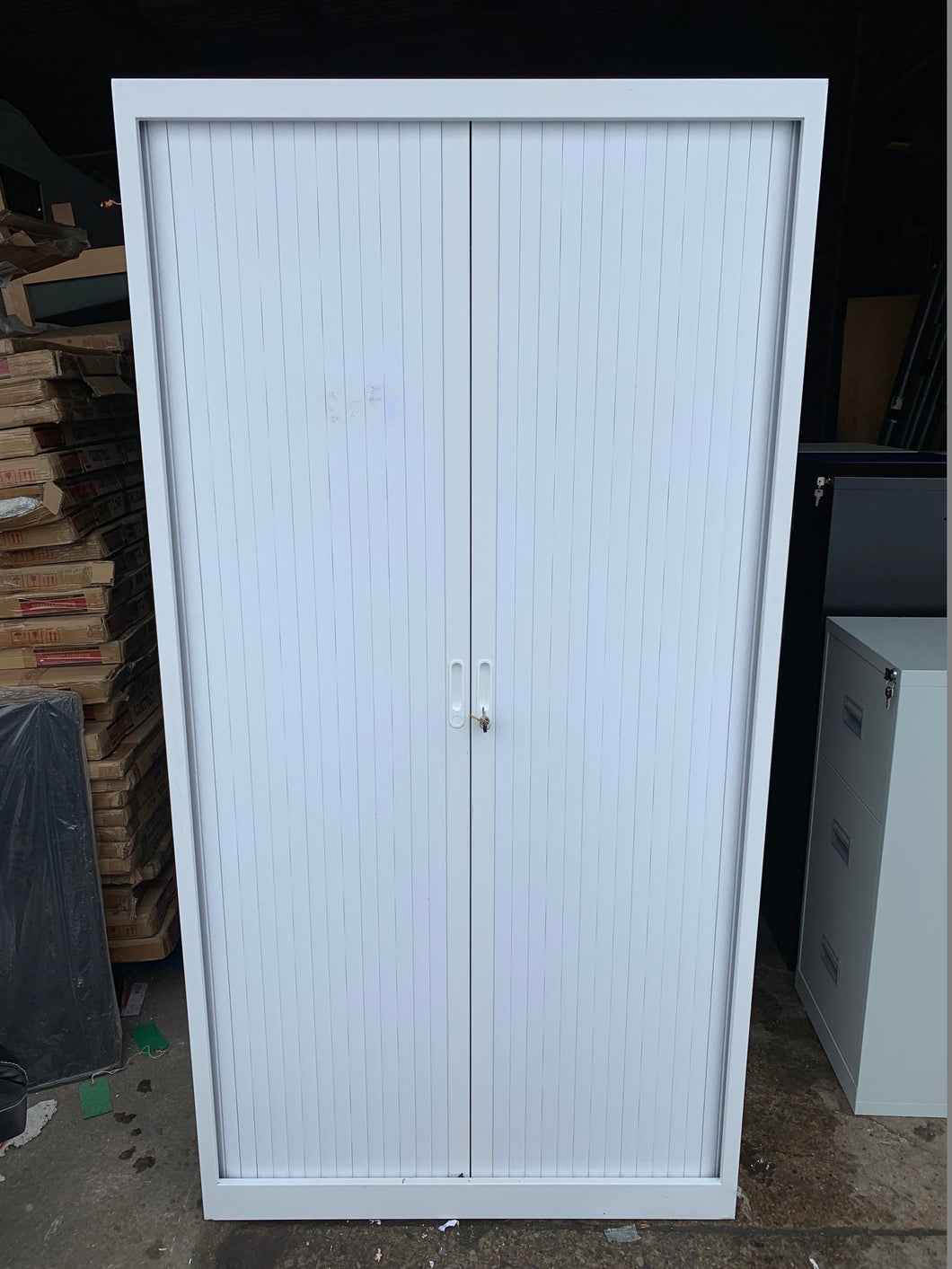Talos Steel Storage Tall Tambour White (New Second) - Flogit2us.com