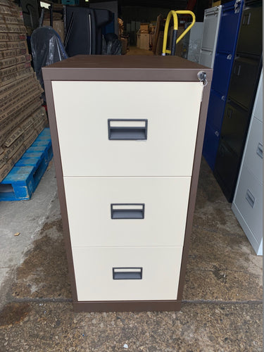 Talos 3 Drawer Coffee & Cream Filing Cabinet (New Slight Second) - Flogit2us.com