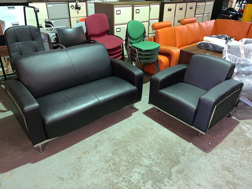 Moonstone Black Leather Sofa & Tub Chair (New Seconds) - Flogit2us.com