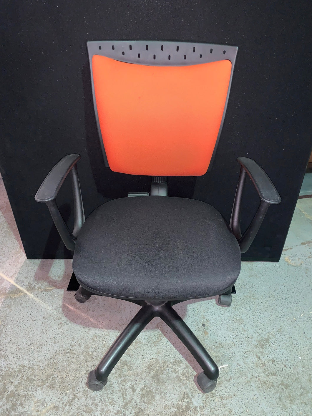High Back Operators Chair With Arms Orange/Black - Flogit2us.com