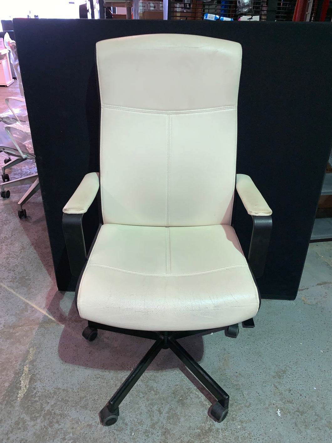 Cream Faux Leather Executive Chair - Flogit2us.com