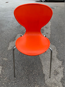 Red Plastic Canteen Chair With Chrome Finish - Flogit2us.com