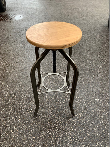 Industrial Bar Stool With Swivel Height Adjustment