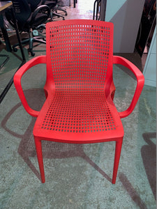 Canteen/Reception Polypropylene Stacking Chair Red - Flogit2us.com