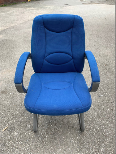 Blue Cloth Cantilever Reception/Meeting Chair - Flogit2us.com