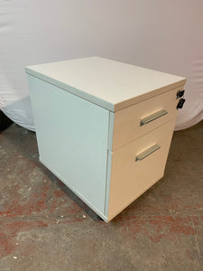 White Premium 2 Drawer Under Desk Pedestal