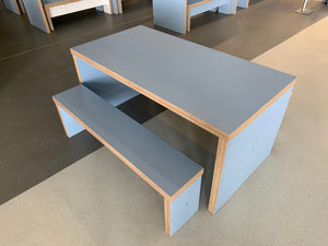 Chunky Wooden Canteen Bench Set Blue - Flogit2us.com