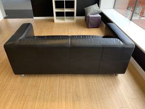 Black Faux Leather Reception Sofa - Flogit2us.com