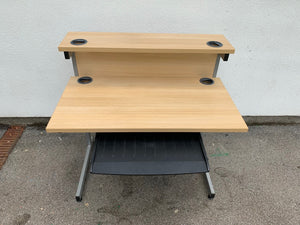 1000mm Oak Straight Desk With Riser - Flogit2us.com