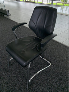 Giroflex 64 Black Leather Visitor's Chair - Flogit2us.com