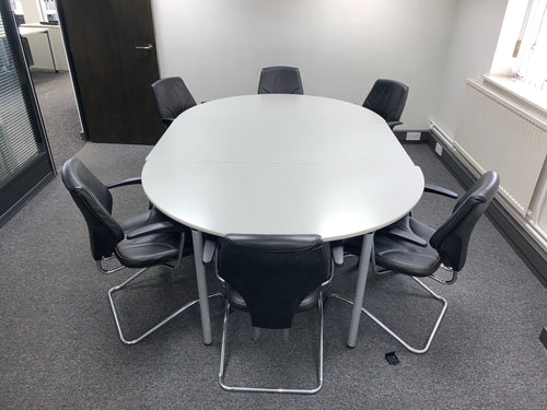 6-8 Person Modular D-End Meeting Table Grey - Flogit2us.com