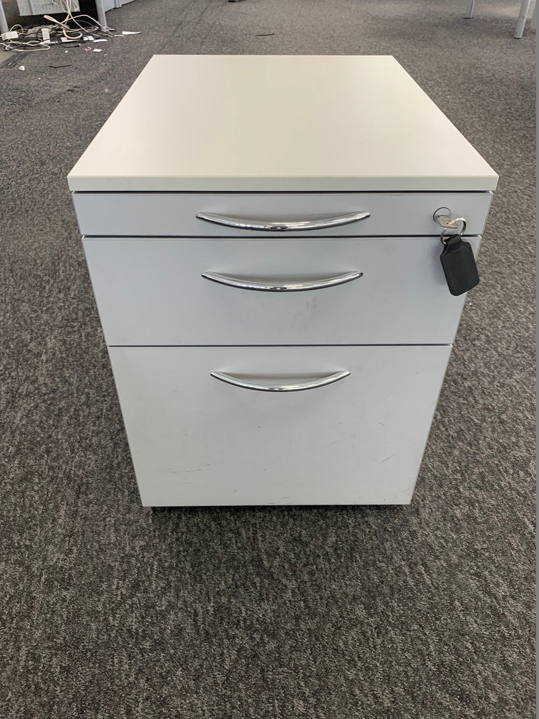 Grey/White Premium Under Desk Pedestal - Flogit2us.com