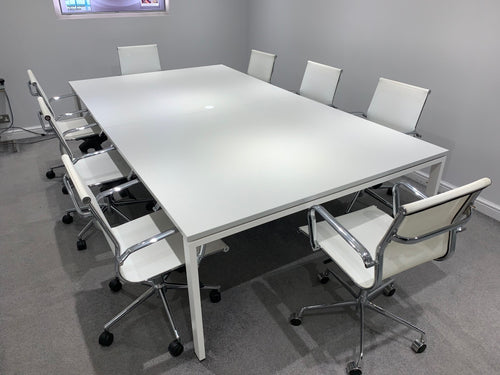 8-10 Person Light Grey Meeting Table - Flogit2us.com