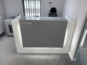 White/Grey Reception Counter - Flogit2us.com