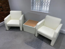 Load image into Gallery viewer, White Faux Leather Reception Chair & Coffee Table Set - Flogit2us.com