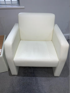 White Faux Leather Reception Chair & Coffee Table Set - Flogit2us.com