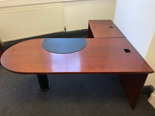Curved Manager's Desk With Return & Matching Cupboard - Flogit2us.com