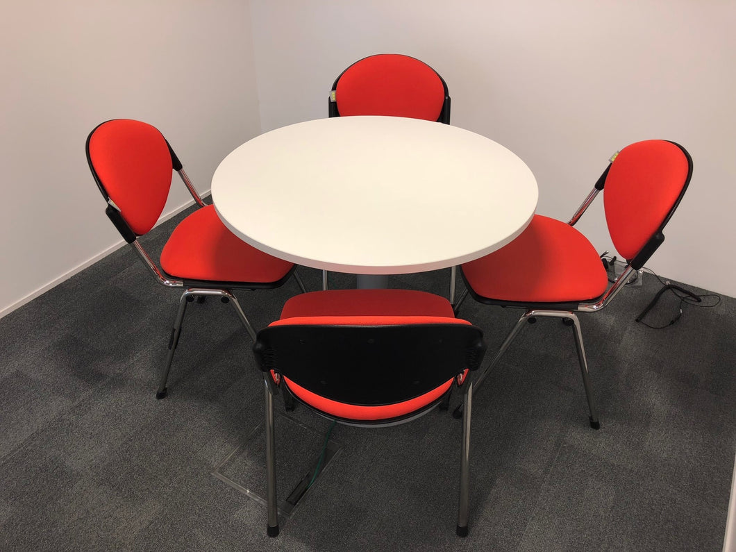 White Round Meeting Table And Chairs - Flogit2us.com