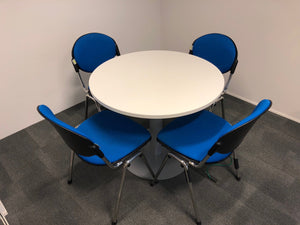 White Round Meeting Table And Chairs