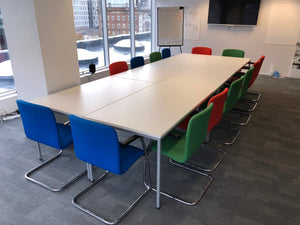 White Modular 14-16 Person Meeting Table With Cantilever Chairs