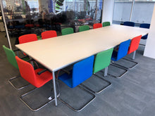 Load image into Gallery viewer, White Modular 14-16 Person Meeting Table With Cantilever Chairs
