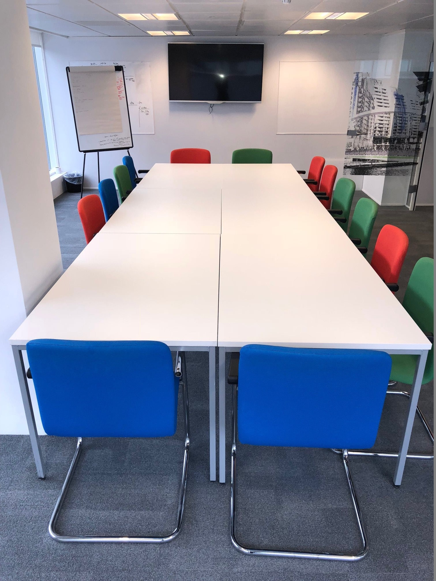 White Modular 48-48 Person Meeting Table – Flogit48us.com