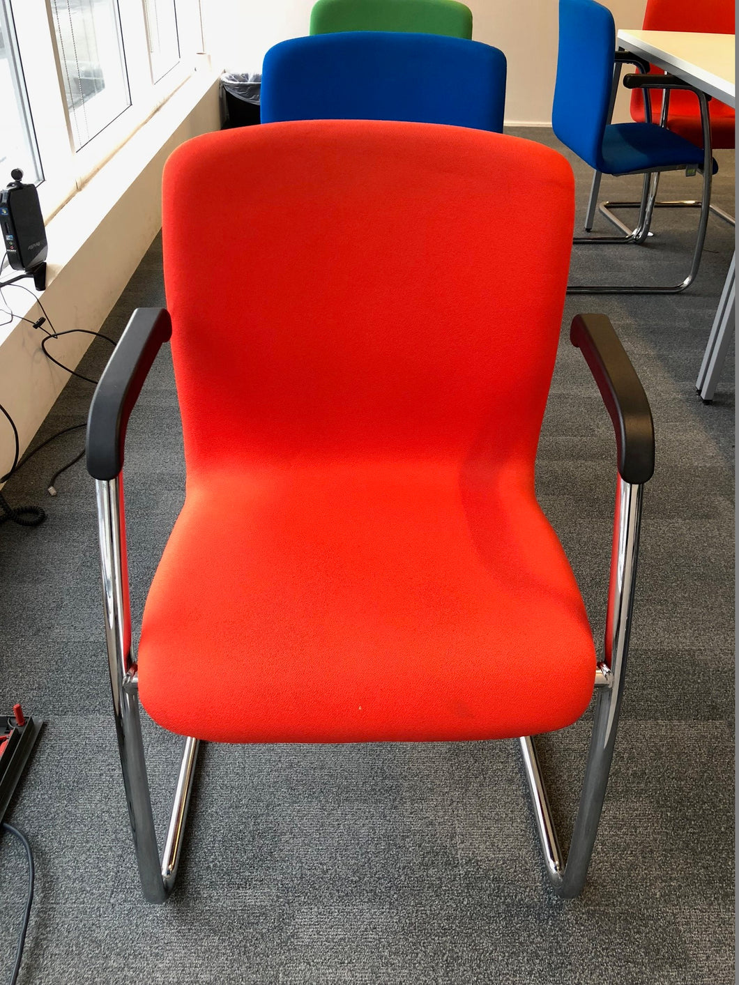 Red Meeting/Conference Chair With Chrome Finish - Flogit2us.com