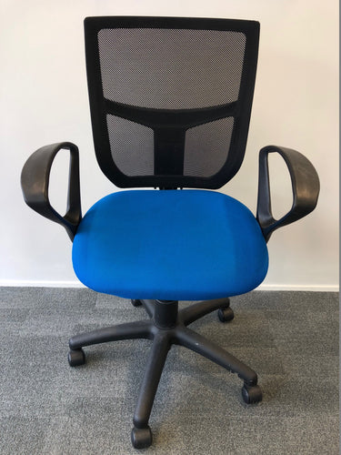 Mesh Back Office Chair With Arms Blue