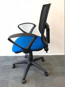 Mesh Back Office Chair With Arms Blue - Flogit2us.com